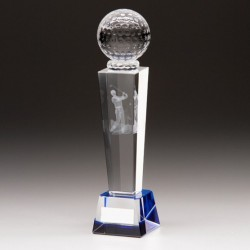 Crystal Golf Trophy with Golf Ball - 165mm